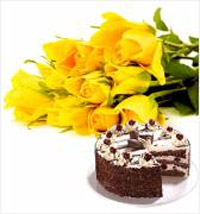 10 yellow roses bunch and a 1/2kg Butter Cream chocolate cake.
