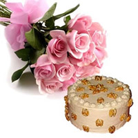 This hamper consists of an alluring bunch of 12 Pink Roses, coupled with 1/2 kg. Butter Cream Butter Scotch Cake