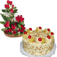 20 Red Roses along with a 1 kg butterscotch cake. As flowers express one's heart-felt feelings in an unique fashion