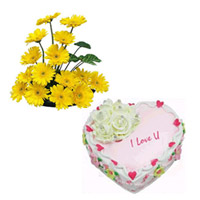 1kg straw berry Heart shape cake and a basket of 20 Yellow fresh gerberas