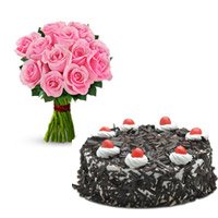 1kg Black Forest Cake cake + 24 pink roses bunch