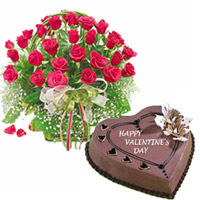 1kg Chocolate heart shape Cake + 20 Red roses round basket