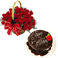 1kg chocolate Truffle cake as a birthday gift, 50 Roses basket to your loved one in India