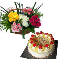 50 Red,yellow,white and pink Roses Basket. Roses surrounded by Gypsophila . + 1 kg round pineapple cake.