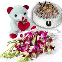 A Beauty of Bunch of 10 Orchids , 1 Kg black forest Cake & 6 Inches Teddy