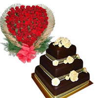 100 red roses heart shape basket.The most precious moments are those you share with your friends or dear ones. And the special wedding day chocolate cake 4kg