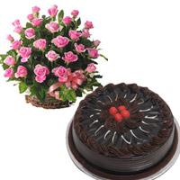 100 pink roses Round basket + 2 kg  chocolate truffle round cake