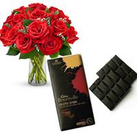 12 Red roses vase  2 CADBURY BOUNRVILLE FINE DARK CHOCOLATE each one 80Gms