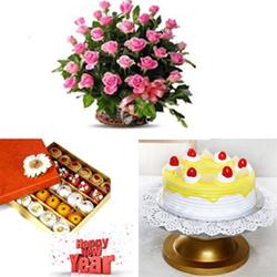 50 pink roses basket +1kg Butter scotch cake 1kg box of Kaju Mixed sweets