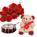 Hamper Contains : 12 Red Roses Bunch, 1/2kg Normal Chocolate Cake and Small n Cute Teddy Bear.