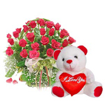 Hamper Contains : 25 Red Roses round shape basket and small cute Teddy Bear.