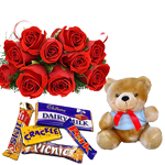 12 Red Roses bunch and 6 inch teddy with assorted chocolates