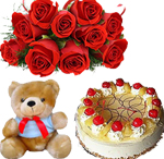 12 red roses bunch,6inch teddy with 1kg pineapple cake