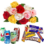 <b>Celebration Time</b>:Send this wonderful Gift Hamper to your loved ones in India on any occsion. Hamper Contains : 12 mixed flower bunch + Assorted Chocolates and 4 mixed Can ( Pepsi , Coke etc)