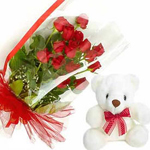 12 Red Roses bunch and 6 inch teddy with message card