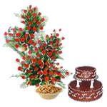 Mega Treat Gift Hamper  can truly surprise your loved ones. The hamper has  100 Red Roses beautifully decorated, 3feet height,and double-step Chocolate Cake (3 Kg) and a box of 250 gms Kajus Send this gift hamper to your loved ones in India. <br> Pillar cake not possible.