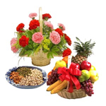 Surprising your loved ones in India can be a tough task. Let your feelings reach out to your loved ones in style through this Gift Hamper of 1/2 kg mixed dry fruits,2 kg fruit basket andA basket of 15 Red & 7 Pink carnation.