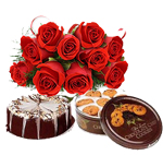 Hamper Contains : 12 red rose bunch, 500 gms Danish Butter Cookies Gift Box and 1/2kg Normal Chocolate cake.(or)black forest cake square shape