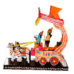 Chariot has always been an important element of our purans and itihasam.  Aprox 6 to 8 inch hegith - Medium height , lead time 2 working days.
