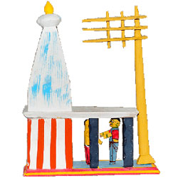 Visiting temples is always a part of life in our culture. The toy set shows a typical temple complex with a man offering prayers through the pujari  Aprox 6 to 8 inch hegith - Medium height , lead time 2 working days.