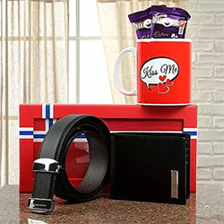 In case you want to add a sweet surprise to your leather gifting, why not pair them up with mouthwatering Dairy Milk Silk Chocolates and a lovely coffee mug Cadbury Dairy Milk Silk Chocolates - 2 (60 grams each) Normal Belt & Wallet Set Kiss Me White Ceramic Mug 2 to 3 working days