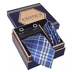 Silver N Blue Tie Set
