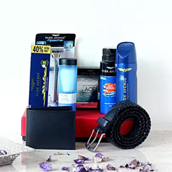One Black Leather Belt- Universal Size One Black Leather Wallet- Standard Size One Park Avenue Deo Talc- 100 gms One Park Avenue Luxury Soap- 125 gms One Park Avenue Shaving Cream- 84 gms One Park Avenue After Shave Lotion- 50 ml One Park Avenue Deodorant- 130 ml One Park Avenue Shaving Brush One Park Avenue Apache Razor 2 to 3 working days