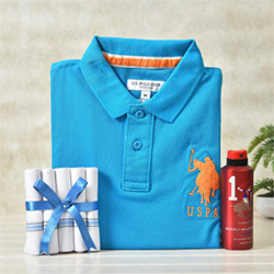 Premium 100% Cotton Crossline 5 Set Of Handkerchiefs US polo T shirt in soothing blue color Beverly Hills Polo Club Sport Deodrant Spray Kindly mention SIZE S M L XL XXL  2 to 3 working days
