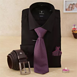 The hamper comprises of black color shirt, a blue color tie and a brown formal belt. 2 to 3 working days