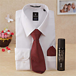 Glorify your love with this hamper that has sparkling white  shirt with maroon tie and Axe Signature Body Perfume Available in sizes 38, 40, 42, 44.Please mention appropriate size 2 to 3 working days