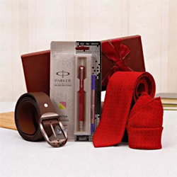 This gif box has a Parker pen, a brown belt, and a red self-printed tie and pocket square set. The pen is a vector standard roller ball pen