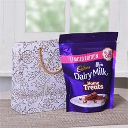 Cadbury Dairy Milk MIni Treats PackWhite Printed Goodie Bag