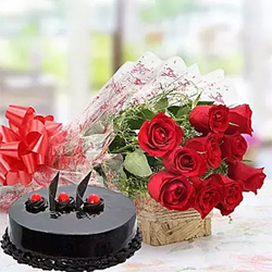 10 Red Rose bunch Cellophane Packing Red Ribbon +Truffle Cake 500gms