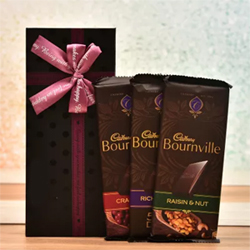 Cadbury Bournville Chocolates in Gift Box Bournville Raisin& Nut,Cranberry,Rich Cocoa  Each one 80 Gms