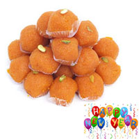 Tasty Motichur Laddu packed in gift pack, Weight : 1/2kg