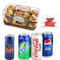 16 Pcs Ferrero Rocher Box + Assorted Chocolates and 4 mixed Can ( Pepsi , Coke etc)
