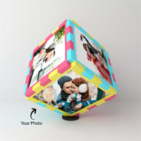 The photos on the cube are of the size 4x4 inches and the cube rotates on its own. Each side of the cube is visible when the cube rotates.