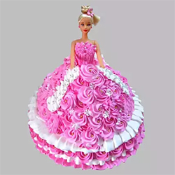 Butter scotch  Barbie Doll Cake The cuteness and beauty of Barbie Doll attract every girl. Weight- 2 kg , Cakes to Delhi