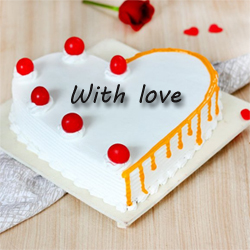 Rich in fresh light cream, this heart-shaped cake is an assured surprise for a loved one. , Cakes to Delhi