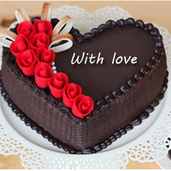 Chocolaty, indulgent and sumptuous are just a few of the words that come to your mind when you think of Heart Shape Chocolate truffle cake, Cakes to Delhi