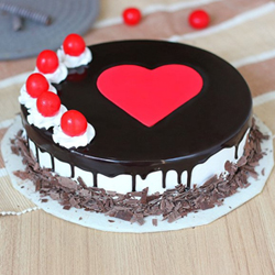 This Black Forest cake is a perfect form of art where the red cherries and fondant heart makes the most alluring contrast with the dark liquid chocolate