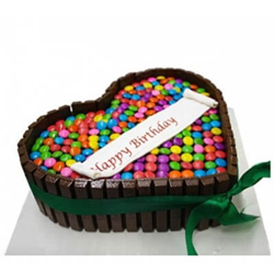 1.5kg Special Heartshape chocolate Gems Cake, Cakes to Delhi