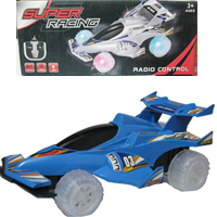 Super Racing Car, for 3+ age, Full function remote with LED Lights <br>  Forward, Backward, Left and Right Options,  battery operated <br> Radio Control Car.