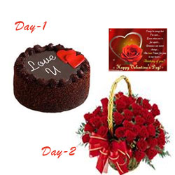Your Gift Contains:  1st Day: 1 Kg Round Chocolate Cake  2nd Day: 50 red roses Round Basket