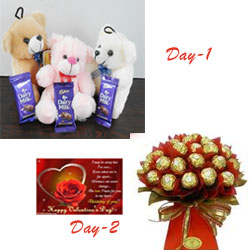 Your Gift Contains: 1st day: 3-small Teddy Bear+ 3 small dairy milk chocolates  2nd day: 16 Ferrero Rochers chocolates in Red Handmade Bouquet