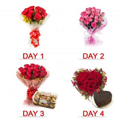 4 Day Serenade Surprise.  Day 1: 12 red rose Bunch  Day 2: 12 pink rose Bunch  Day 3: 20 red roses with pack of 16 Ferrero Rocher  Day 4: 30 red roses In heart shape with 1Kg chocolate Heart-Shaped Cake