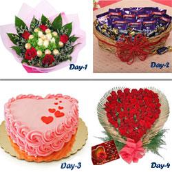 Day 1 : 16 Ferrero Rochers chocolates Bouquet  Day 2 : Cadbury Dairy Milk Chocolates - 12 (13 grams) 30 pcs Cadbury Chocolairs  Day 3 :1kg heart shape strawberry cake Day 4 :50 Red roses heart shape basket