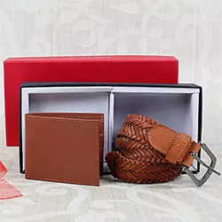 good quality leather and has a wonderful finish. A wallet is also included to make this combo  Wallet - Standard Size Braided Belt - Universal Size 2 to 3 working days