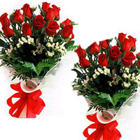 12 Red Roses bunches (2no) specially made to express your heart felt wishes to the couple on their most special day.