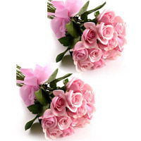 12 Pink Roses bunches (2no) specially made to express your heart felt wishes to the couple on their most special day.